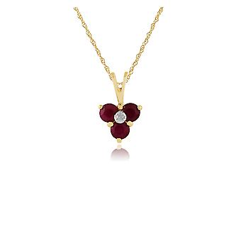 9ct Yellow Gold 0.43ct Natural Ruby & Diamond Cluster Pendant on 45cm Chain