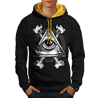 Triangle Eye Men Black (Gold Hood)Contrast Hoodie | Wellcoda