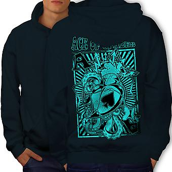 Gambling Card Gamble Men NavyHoodie Back | Wellcoda
