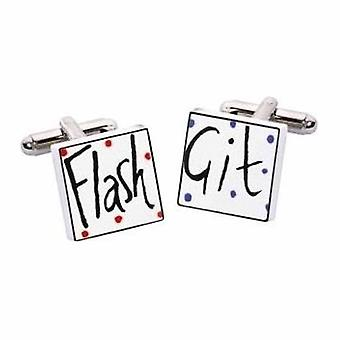 Flash Git Cufflinks by Sonia Spencer, in Presentation Gift Box. Hand painted