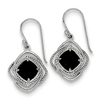 925 Sterling Silver Rope Accent Square Onyx Dangle Earrings