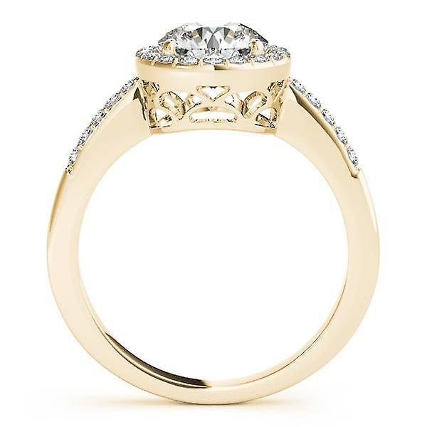 2 1 / 2ct ronde Diamond Halo verlovingsring 14K Yellow Gold