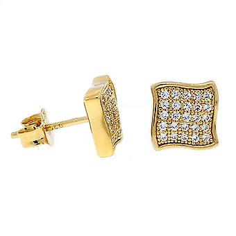 Sterling 925 Silber MICRO PAVE Ohrstecker - WAVE 10mm gold