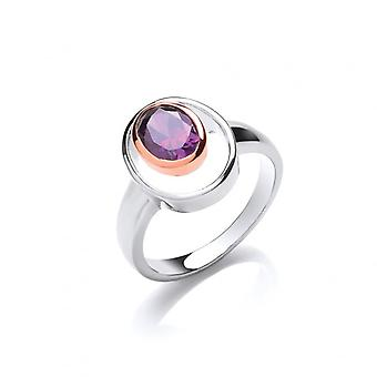 Cavendish French Silver and Amethyst CZ Rennie Mackintosh Style Ring