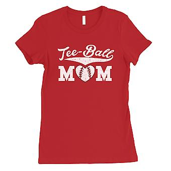 Tee-Ball Mom Womens Red T-Shirt Mothers Day Shirt Cute Mom Gifts
