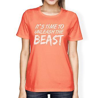 Unleash Beast Womens Peach Short Sleeve Workout Gym T-Shirt Gifts