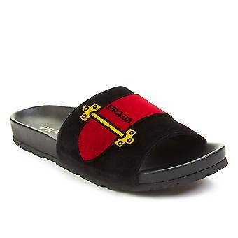 Prada Women's Leather Velvet Slide Sandal Shoes Black