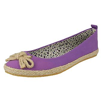 Ladies Spot On Flat Slip On Shoes F2234