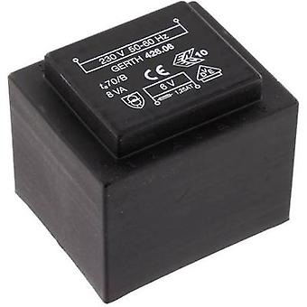 PCB mount transformer 1 x 230 V 2 x 4.5 V AC 8 VA 888 mA PTF420902 Gerth