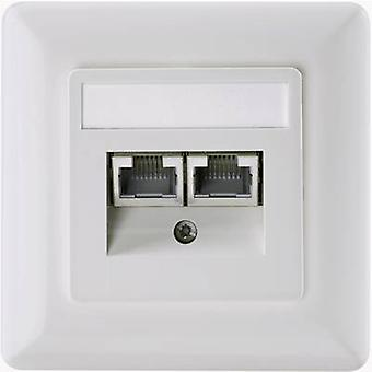 Network outlet Flush mount Insert with main panel and frame CAT 6 Setec 604697 Pearl white