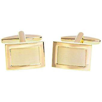 David Van Hagen Shiny Brushed Rectangle Cufflinks - Rose Gold