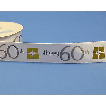 25mm White Happy 60th Birthday Printed Ribbon - 20m   Ribbons & Bows for Crafts