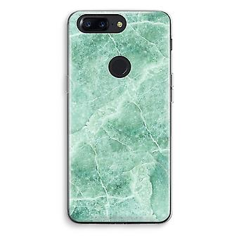 OnePlus 5T Transparent Case (Soft) - Green marble