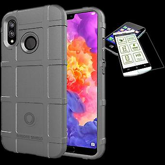 For Huawei P20 Lite shield case TPU silicone grey + 0.26 mm 2.5 d H9 tempered glass bag case cover sleeve
