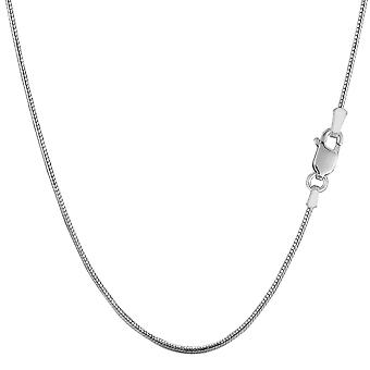 Sterling Silber Rhodium plattiert Runde Schlange Gliederkette, 1,1 mm