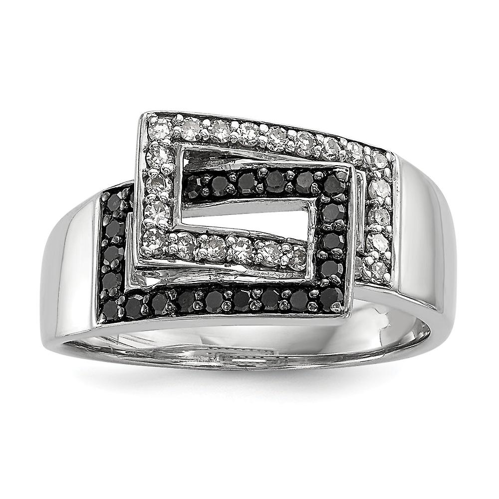 Sterling argent Polished Prong set Open back Gift Boxed Rhodium-plated noir and blanc Diamond Ring - Ring Taille  6 to 8