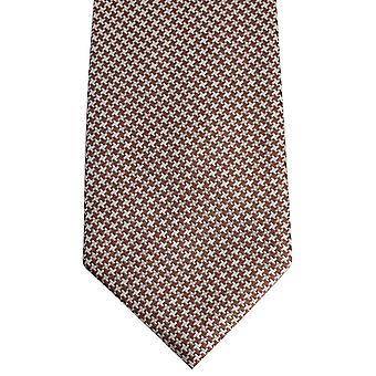 David Van Hagen Houndstooth Tie - brązowy/biały