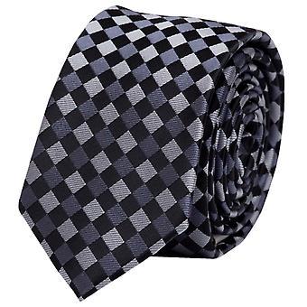 Tie slips slips slips 6cm sort grå rutete Fabio Farini