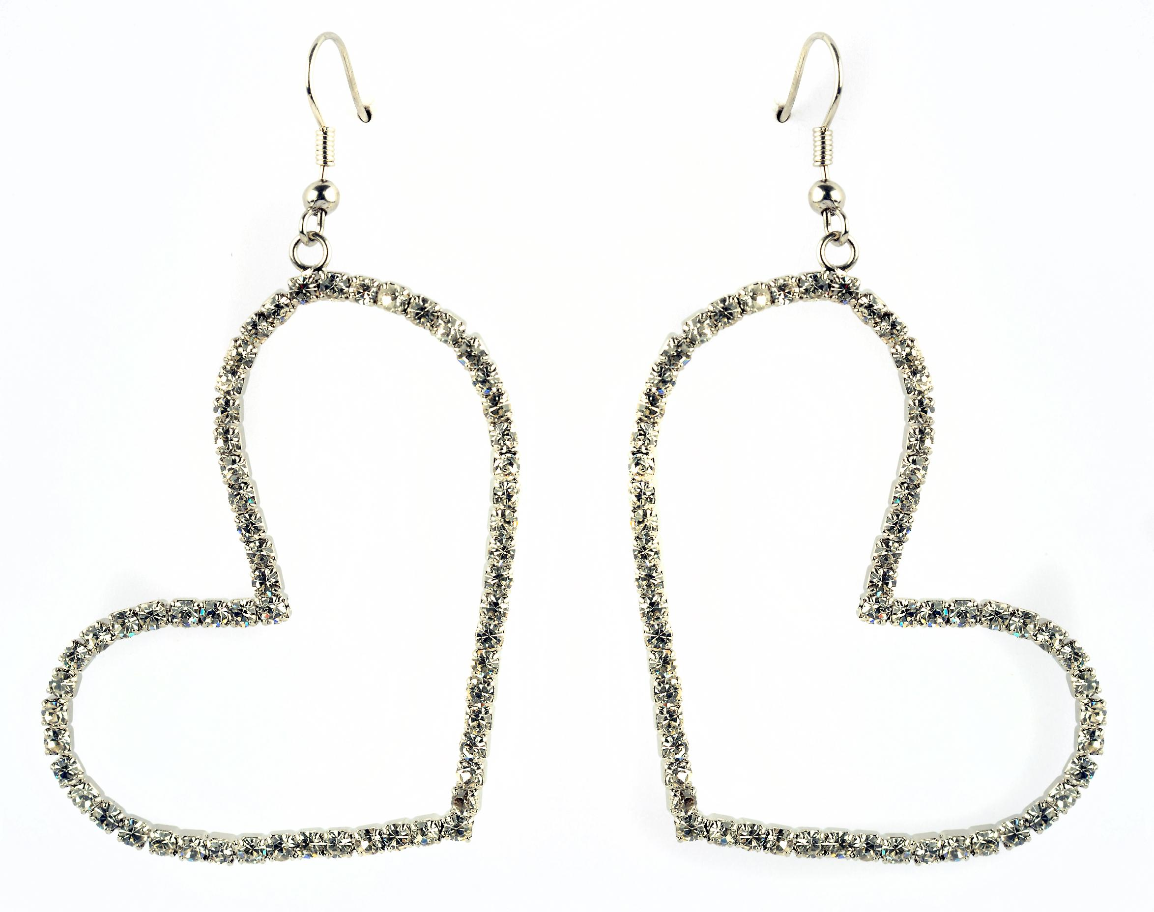 Waooh - Jewelry - WJ0756 - earrings with Rhinestone Swarovski white Style diamond - heart shaped frame