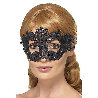 Embroidered Lace Filigree Floral Eyemask, BLACK