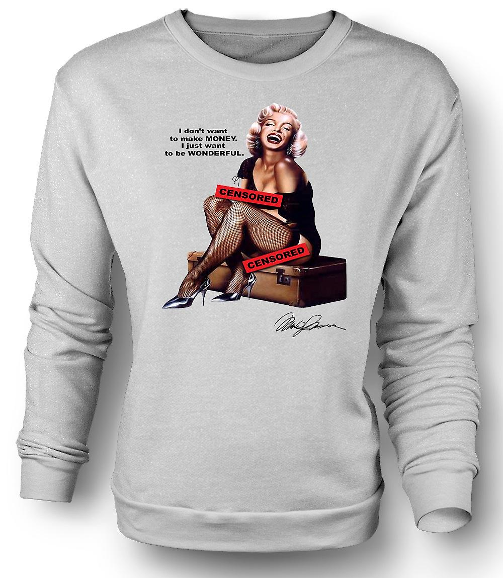 Mens Sweatshirt Marilyn Monroe Pin-Up - Censored