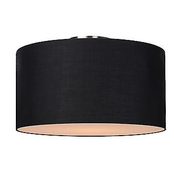 Lucide Coral Modern Round Cotton Black Flush Ceiling Light
