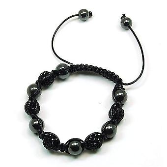 TOC Treated Hematite & Black Crystal Disco Ball Adjustable Bracelet
