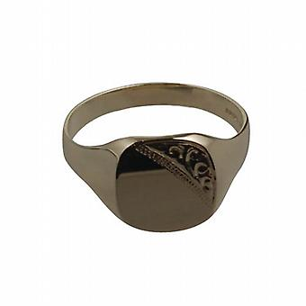 9ct Gold 14x12mm gents engraved TV shaped Signet Ring Size U