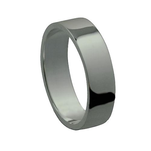 Platinum 5mm plain flat Wedding Ring Size P