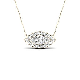 IGI Certified 10K Yellow Gold 0.25Ct TDW Natural Diamond Marquise Halo Necklace