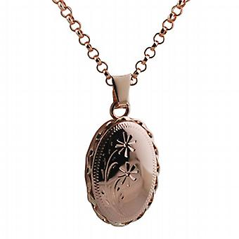 9ct Rose Gold 23x16mm engraved twisted wire edge oval Locket with belcher Chain 16 inches Only Suitable for Children