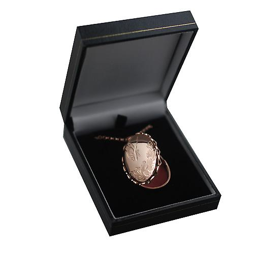 9ct Rose Gold 37x28mm hand engraved twisted wire edge oval Locket with a belcher Chain 16 inches Only Suitable for Children
