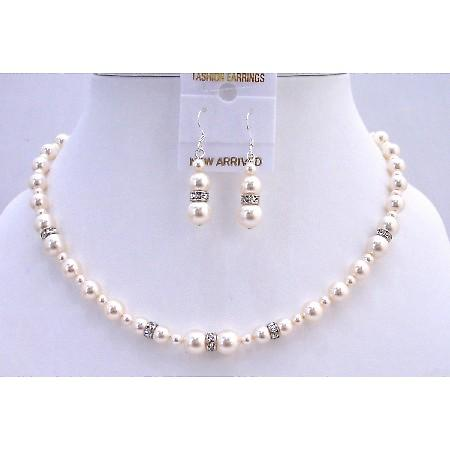 Wedding Handcrafted Swarovski Ivory Pearls Silver Rondells Jewelry