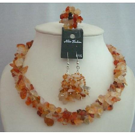 Handcrafted Carnelian Stone Chip Necklace Sets w/ Ring