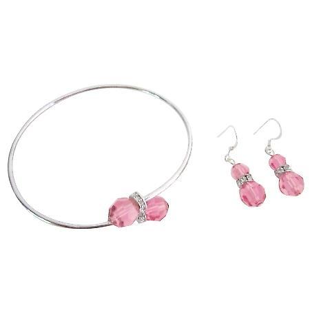 Swarovski Rose Bridal Statement Bracelet Earrings