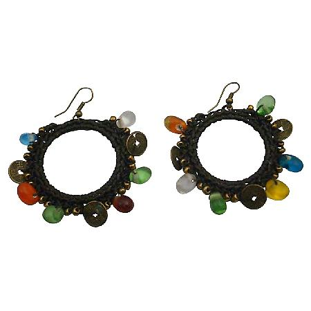 Round Shaped Darkest Brown Thread Knitted Multicolor Beads Earrings