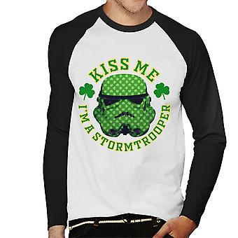 Original Stormtrooper Kiss Me St Patricks Day Men's Baseball Long Sleeved T-Shirt