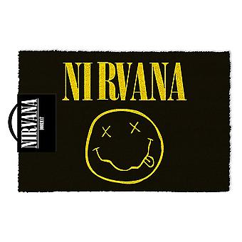 Nirvana smiley face black, mat made of coconut fibre, bottom made of PVC.