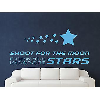 Shoot For The Moon Wall Art Sticker - Arctic Blue