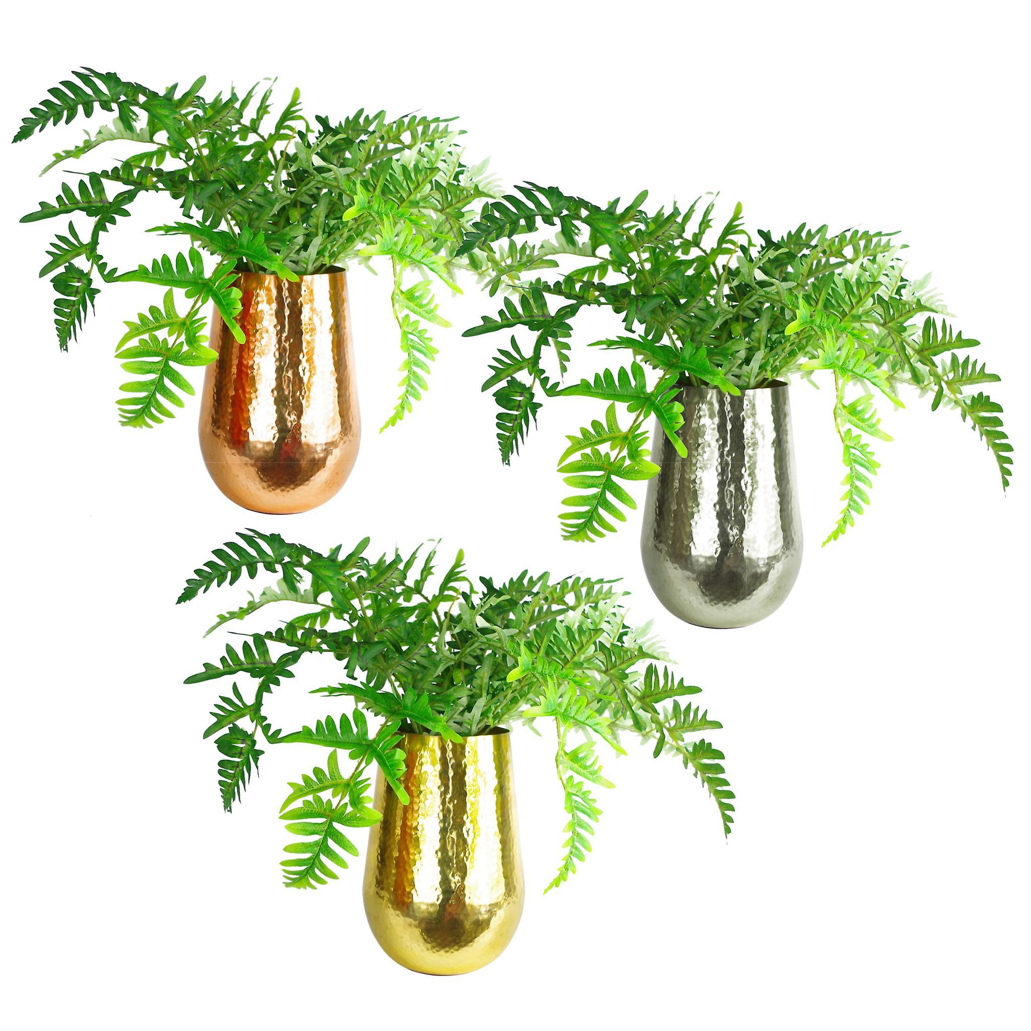 Leaf Tall Metal Gold Vase Planter Medium 17 x 25cm