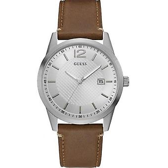 Guess watch W1186G1 - PERRY steel gray Bracelet Brown dial Gray man leather case
