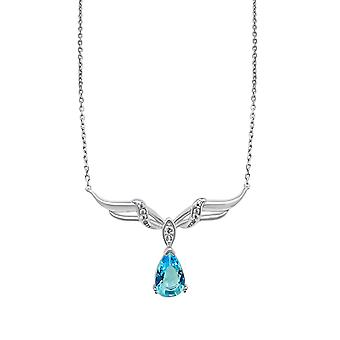 Ah! Jewellery Sterling Silver Wing Pendant Necklace With A Aquamarine Pear Crystal