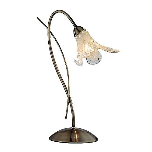 Searchlight 4491AB Lily 1 Light Antique Brass Table Lamp - Amber Petal Glass