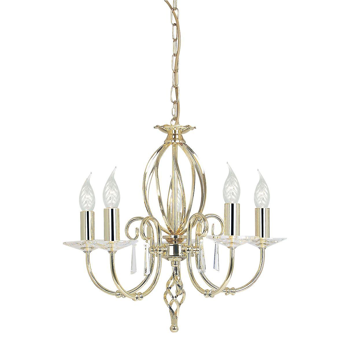 Elstead - 5 Light Chandelier Polished Brass Finish - AG5 POL BRASS