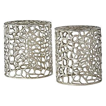 Tavoli laterali circolari Fusion Living Silver con dettaglio Cut Out