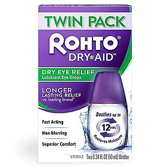 Rohto dry-aid dry eye relief lubricant eye drops, twin pack, 1 ea