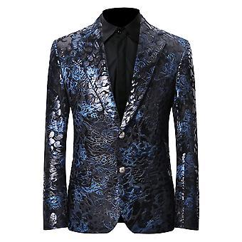 Allthemen's Luxury Casual Velvet Dress Suit Slim Fit Floral Prints Stylish Blazer Coats Chic Jackets