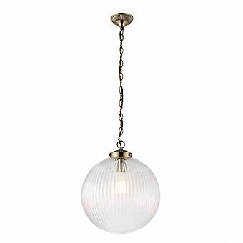 1 Light Globe Ceiling Pendant Antique Brass, Clear Glass