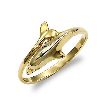 Jewelco London damer solid 9ct gul guld delfin wrap ring