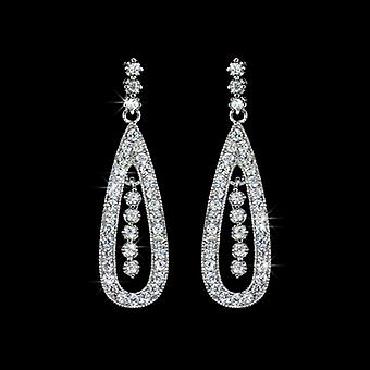 18K Gold Plated Micro Cubic Zirconia Drop Earrings, 3.9cm